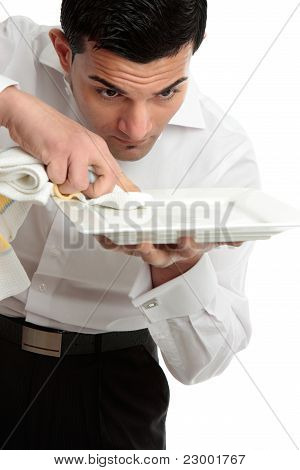 Waiter Servant Cleaning Presenting Plate