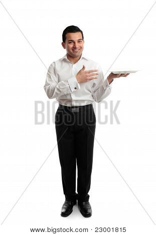 Waiter Or Servant Holding A White Plate