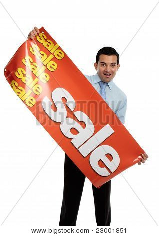 Business Or Salesman Holding Sale Banner