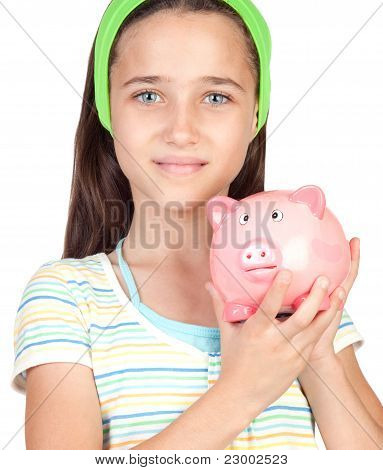 Adorable Little Girl With Money-box