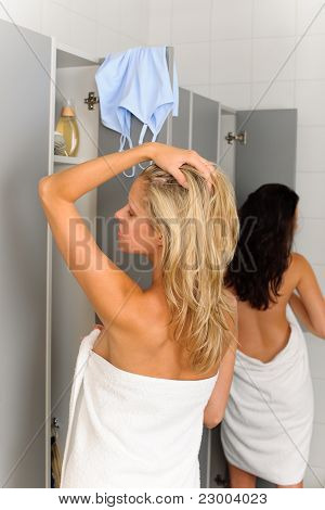 Locker Room Two Relaxed Women Wrapped Towel