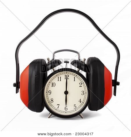 Alarm clock with ear defenders.