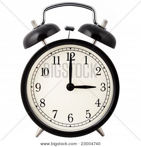 Alarm clock set for 3 o'clock.