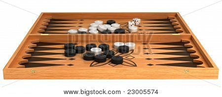 Games: Wooden Backgammon With Chips And Dice