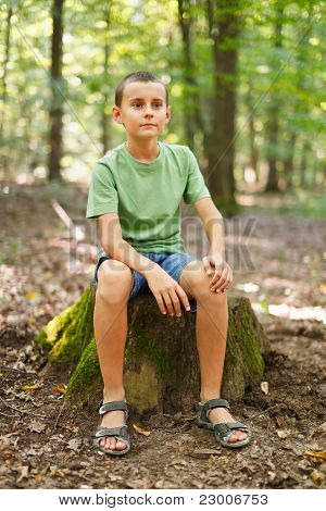 Boy Outdoor In The Forest
