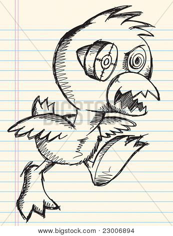 Doodle Sketch Crazy Insane Chicken Bird Cyborg Notebook Vector Art Illustration