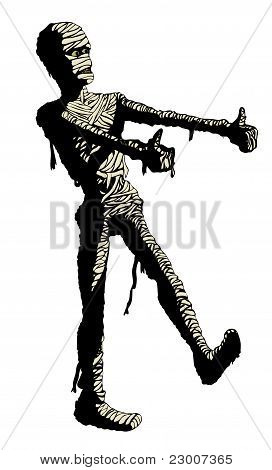 Egyptian mummy dances in his bandages. Clip art : Bigstock