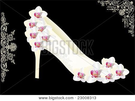 illustration with orchid flowers and shoe isolated on black background