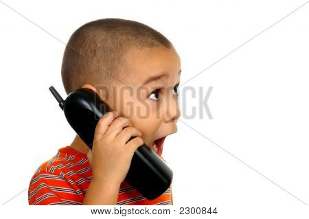 Boy Surprised On The Telephone