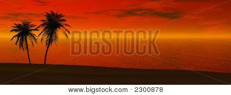 Vista panorâmica, pôr do sol