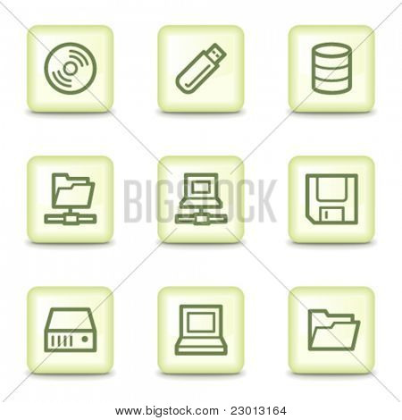 Drives and storage web icons, salad green buttons