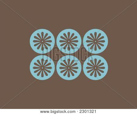 Retro Circles And Flowers Design