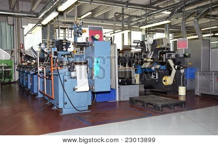 Industrial printshop: Flexo press printing