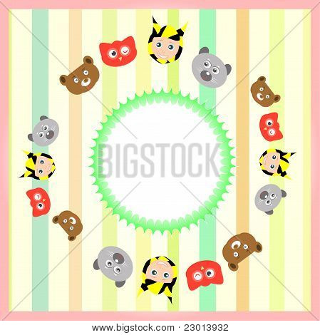 cute cartoon animal set on colorful background