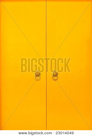Yellow Doors With Red Frame