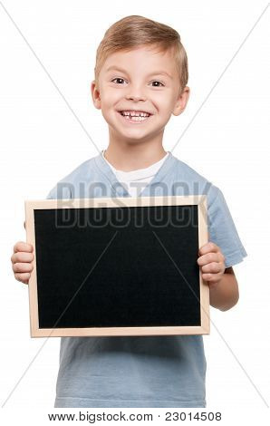 Boy with blackboard