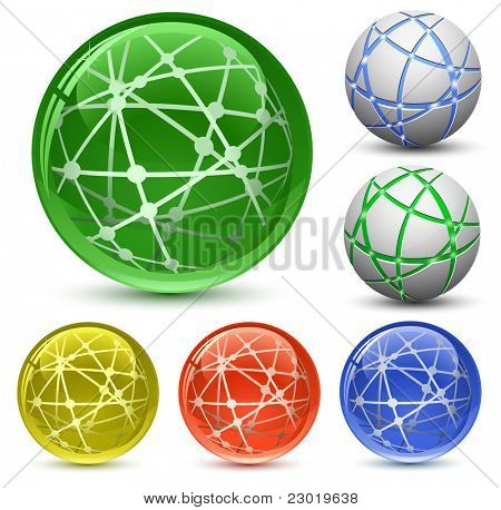 Abstract Globe Icon Set. Communication and Network Concept. Vector Illustration EPS8
