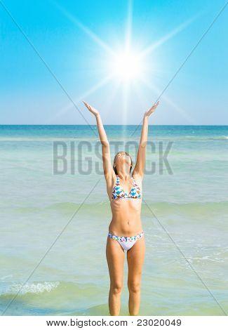 Bikini clad Posing Model