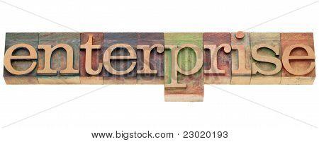 Enterprise Word In Letterpress Type
