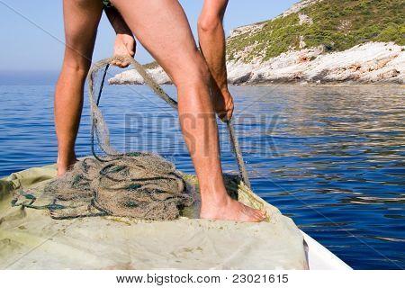 pulling small fishing nets