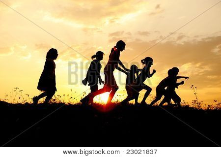 Sunset kids running