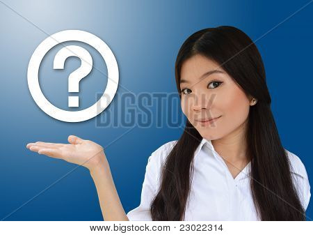 Business Woman And Question Symbol