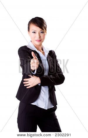 Business Woman With Good Work Sign