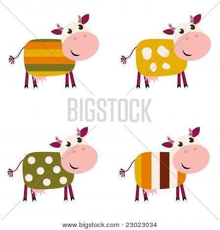 Cute Color Pattern Cows Collection Isolated On White Background..