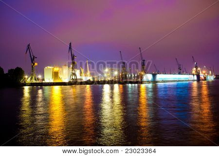 Sea or river port in night time