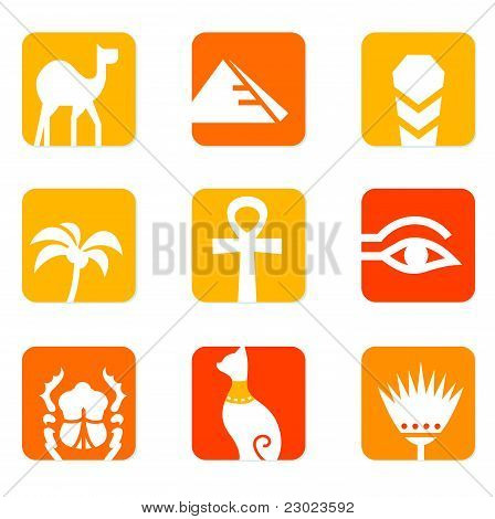 Egypt Icons And Design Elements Block Isolated On White ( Orange, Red ).
