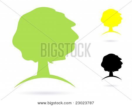 Simple Old Tree Abstract Vector Icon Set Isolated On White.