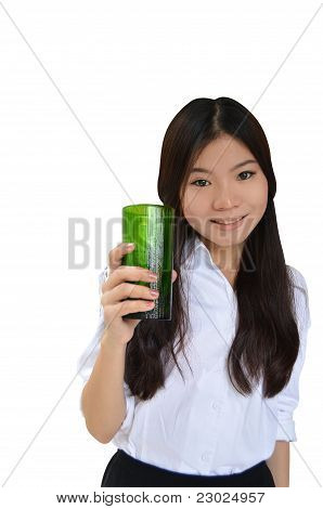 Asian Woman With A Glass Of Water
