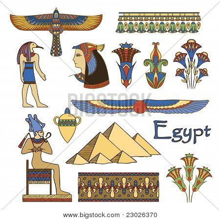Egypt Architecture And Ornaments Color Vector Set