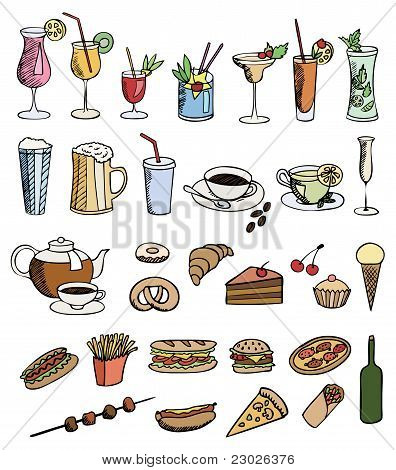 Food And Drink Color Vector Set