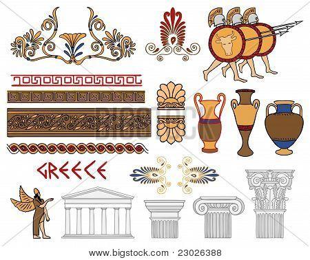 Arquitectura de Grecia y adornos Color Vector