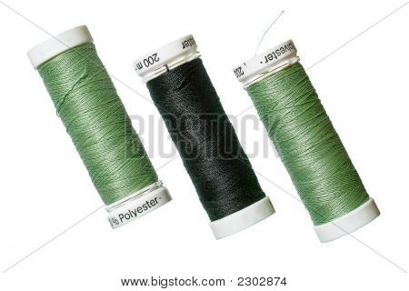 Green And Black Spun Polyester Sewing Threads