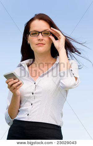 Businesswoman Blue Sky Attractive Look With Phone