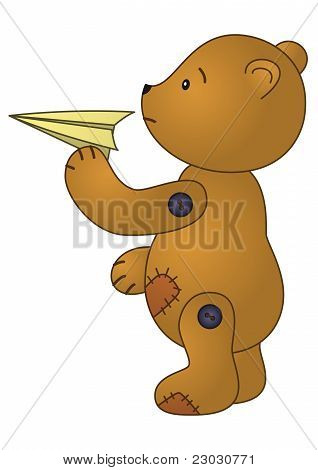 Teddy bear with paper plane