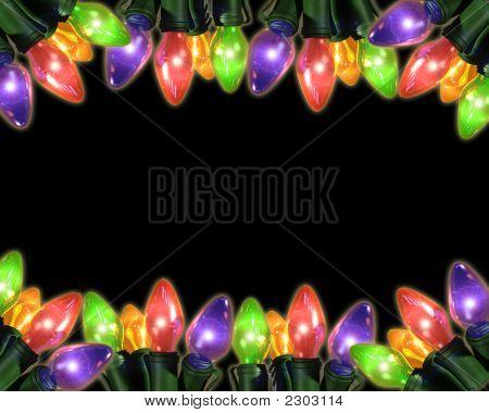 Colorful Holiday Bulbs On Top And Bottom