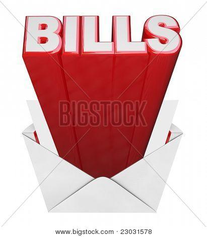 Las cuentas de la palabra que sale de ensobrado abierta que representa el tiempo del mes para pagar sus cuentas -