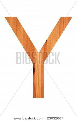 Wood Alphabet Y