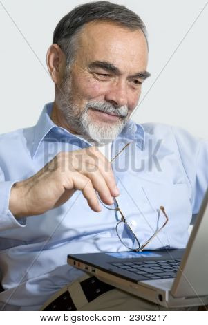 Senior On Laptop