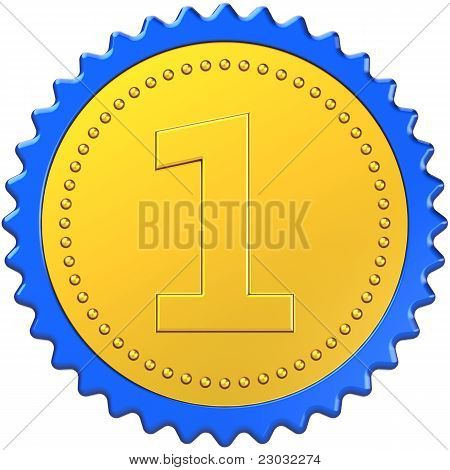 Award first place medal badge golden with blue border