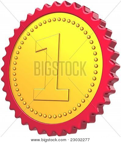 First place badge medal award golden with red border