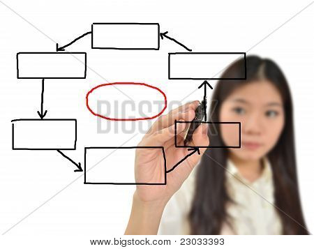 Business Woman Drawing Flow Chart