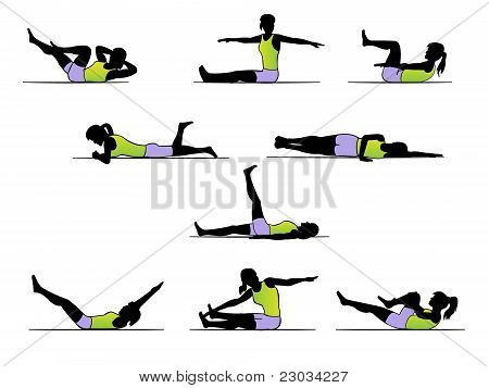 Pilates exercise poses - workout silhouette