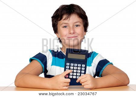 Funny Child With A Calculator