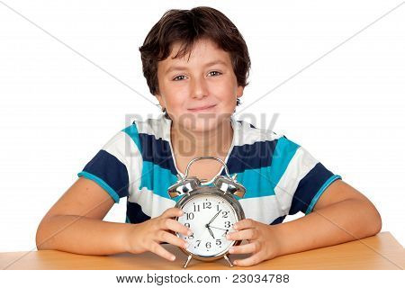 Adorable Boy With A Alarm-clock