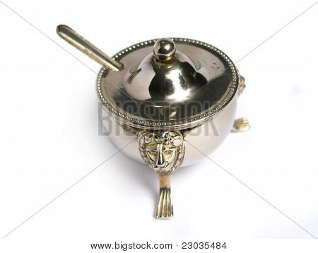Chromed sugar basin and tea spoon