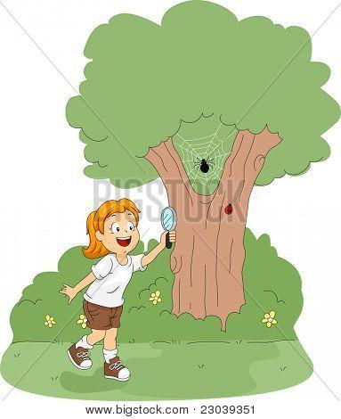 Ilustração de um garoto usando uma lupa